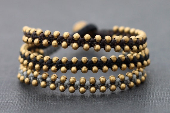 Monotone Tri Band Brass Beaded Bracelet