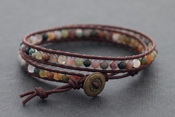 Fancy Jasper Light Brown Leather Wrap Bracelet