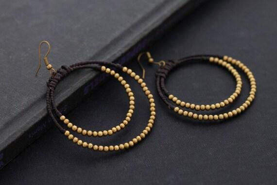 Brass Circle Beaded Earrings
