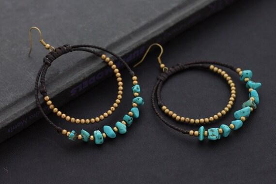 Turquoise Chandelier Stone Earrings