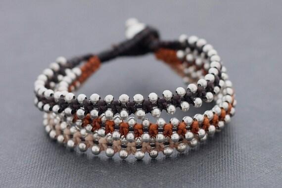 Earth Tone Tri Band Silver Woven Bracelet
