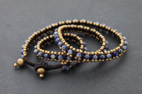 Sodalite Brass Beaded Wrap Bracelet