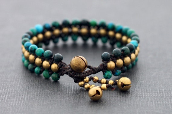 Chrysocolla 3 Row Band Bracelet