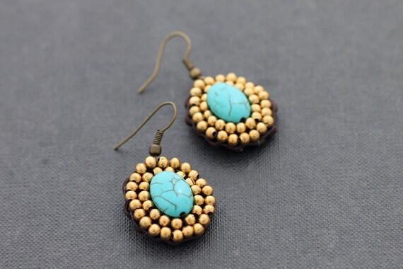 Turquoise Oval Beaded Earrings