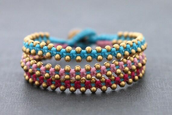 Tri Band Berry Brass Bracelet