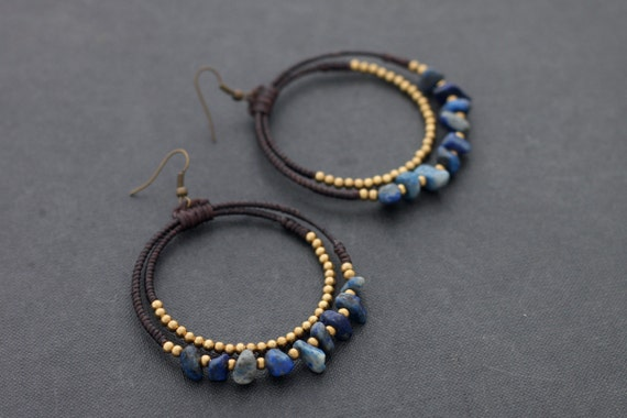 Lapis Lazuli Chandelier Stone Earrings