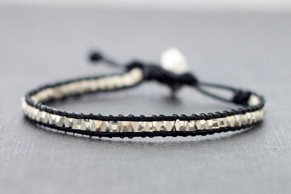 Unisex Faceted Silver Black Leather  Bracelet