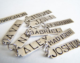 SIX Hand Stamped Name Tags Necklace Charms