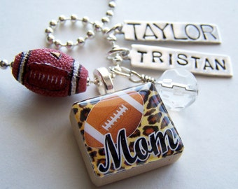 FOOTBALL MOM  Scrabble Tile Pendant and Chain Only - Charms, Beads, Name Tags Extra