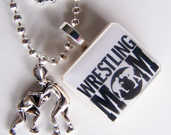 WRESTLING MOM Scrabble Tile Pendant and Chain Only - Charms, Beads, Name Tags Extra