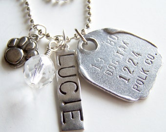 PET TAG Necklace -- Pick THREE & Add Your Own Pet Tags