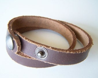 BROWN DOUBLE Wrap BRACELET Blank -- 17 inches long -- Two Snaps