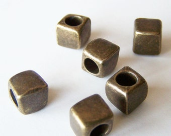 THREE Necklace SPACERS Large Hole Smooth Cube Style Antique BRASS Bead Spacers