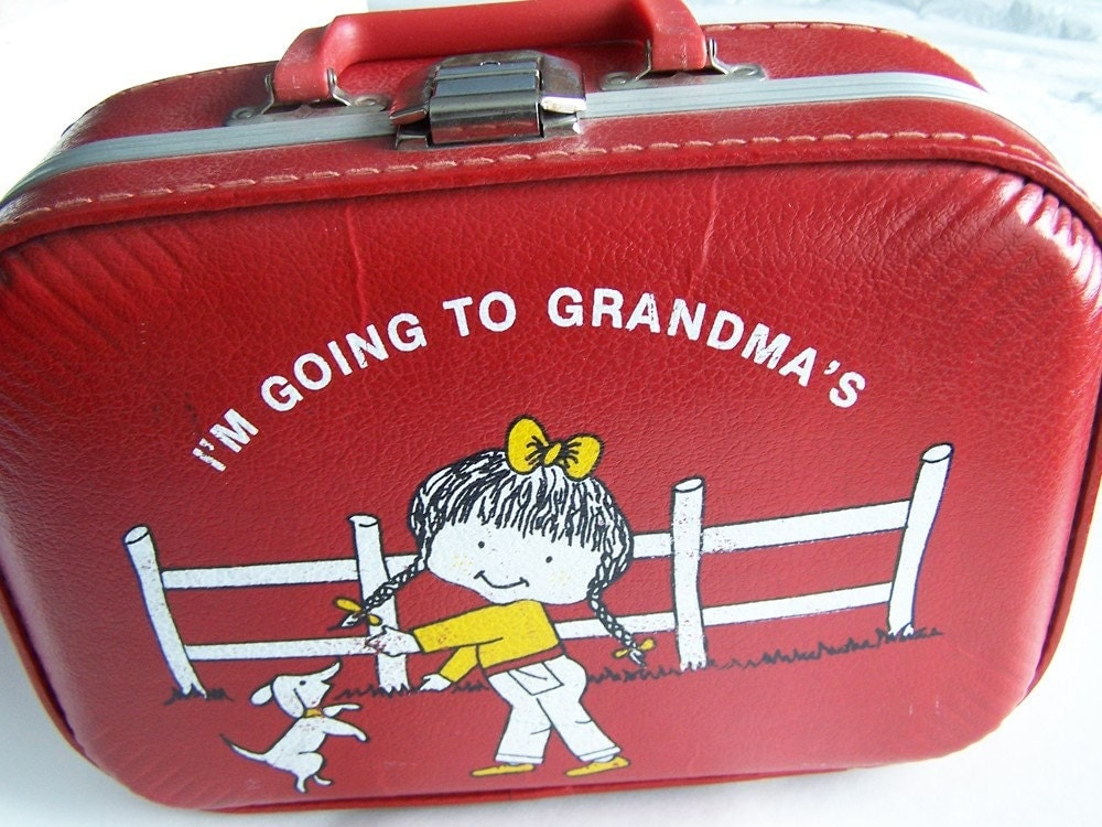 Vintage Red Suitcase Going To Grandmas