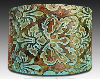Brocade copper and patina polymer clay cuff bracelet