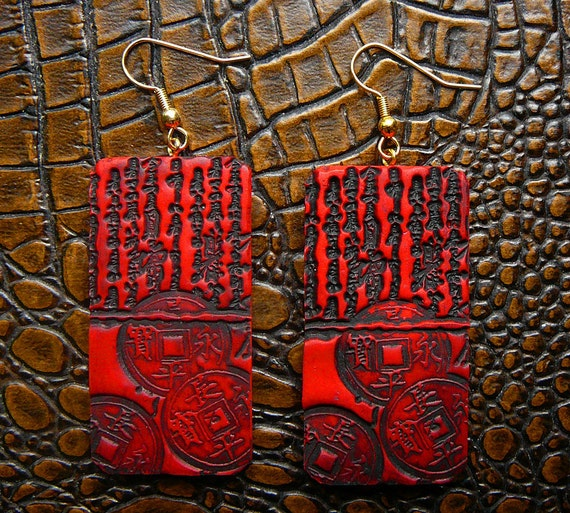 Bold red and black polymer clay earrings