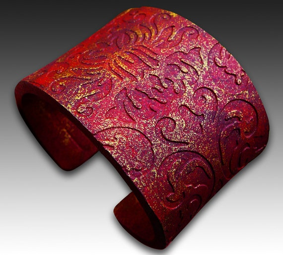 Tuscan red polymer clay cuff bracelet