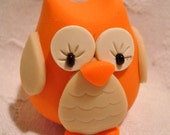 Fall CHUBBY OWL - Pumpkin ORANGE - Polymer Clay Animal - Limited Edition Figure 4