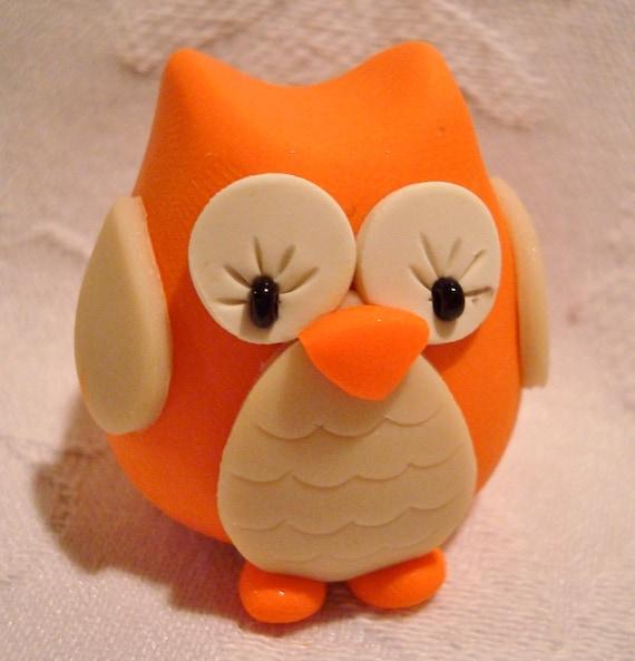 Fall CHUBBY OWL - Pumpkin ORANGE - Polymer Clay Animal - Limited Edition Figure 4