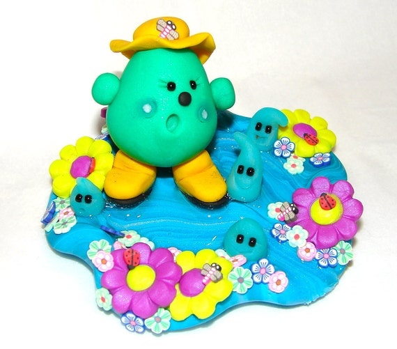 SINGING in the RAIN April Showers Spring PARKER Polymer Clay Character - Limited Edition Figurine