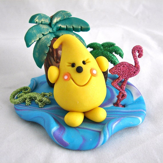 TROPICAL PARKER - Polymer Clay Character with Palm Tree & Pink Flamingo - Limited Edition