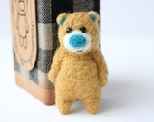 RESERVED for saintdelbear Light brown bear with a bright blue nose, brooch 52