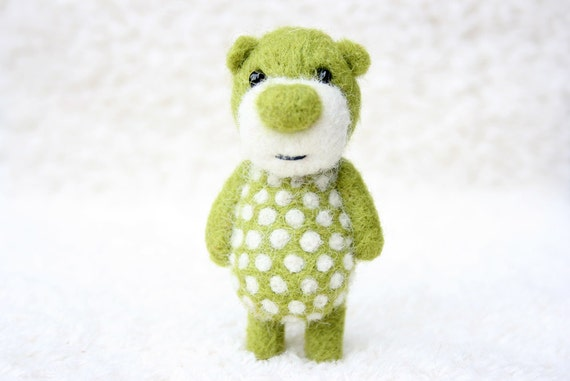 Green polka dotted pocket bear 47