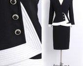 Daymor COUTURE Black and White Rhinestone Suit Set M/L