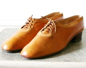 Orange Leather Oxford Shoes Size 8 / Honey Heels 8 - 8.5 / Vintage Womens 1920s BUTTERSCOTCH