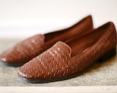Vintage 1980s ETIENNE AIGNER Whiskey Weave Loafer Flats Womens 10