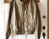 Vintage 1960s Mens Taupe MOTORCYCLE Slim Cut Leather Jacket M Size 46