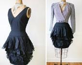 Little Black Dress / Mini Dress / Vintage 1980s Flirty FLUTTER Dress / LBD