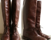 Vintage 1980s Italian Riding Boots /Tall Brown Leather/ Laces/ Equestrian/ Size 9-9.5