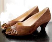 Vintage Bruno Magli PEEPTOE Chocolate Suede Crocodile Heels 5.5