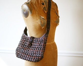 Vintage 1970s SEVEN SEAS Knotted Leather Shoulder Bag