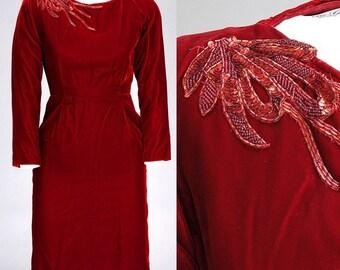 Vintage 1960s Hearts Aflutter Red VELVET Dress (XXS/XS)