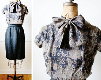 Mad Men Bow Dress / Vintage 1950s Dress / PEGGY OLSON Chiffon Secretary