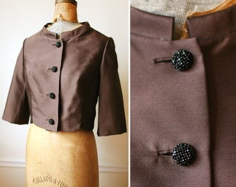 Vintage 1960s Brown Cropped Blazer / Formal Jacket / Rhinestone Buttons / 1950s