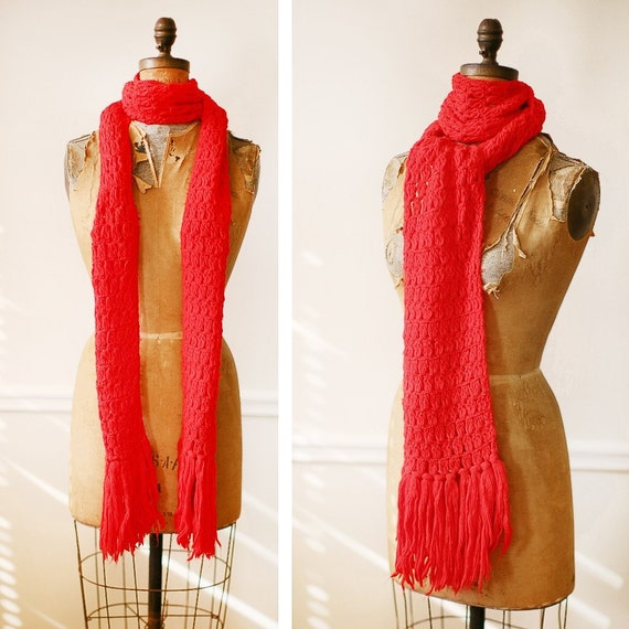 Vintage 1970s CHERRY POP Extra Long Acrylic Scarf