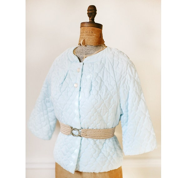 Vintage 1960s Powder Blue QUILTED Bed Jacket S/M