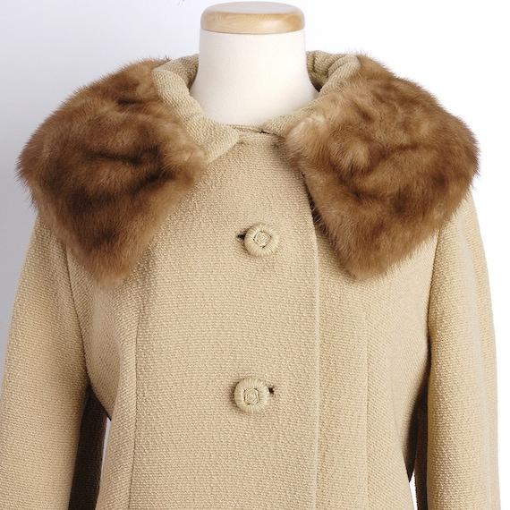 Vintage 1960s Jackie O MINK Collared Camel A-Line Coat M/L