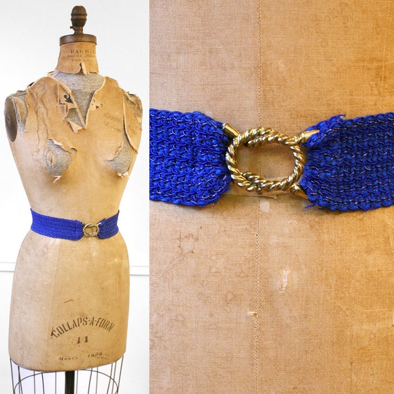 Vintage 1960s BLUE VIOLET Decorative Elastic Belt