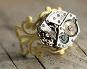 Watch Movement Ring Key West Yellow Adjustable Steampunk Jewelry made in NYC