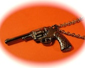 gun necklace, pistol necklace , black