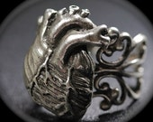 On Sale 2 for 1 Anatomical Heart Ring Antique Silver  fits sizes 3 through 9 adjustable filigree band  Blue Bayer Design NYC