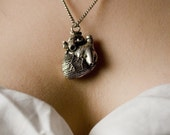 """Silver Anatomical Heart Necklace  (silver-plated, antique finish, 18"""" chain, made in NYC) quantity listing"""