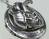 on sale Small Anatomical Heart Keepsake Locket  Necklace antique silver finish buy online