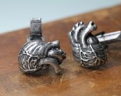 Anatomical Heart  Cuff Links  Cast Metal in Antiqued Silver Made in NYC