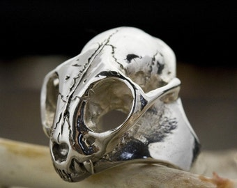 Sterling Wild Cat Skull Ring, Bobcat (cast to order in NYC)