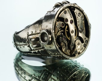 Watch Movement Over Sized Ring in Sterling Silver Steampunk Industrial Jewelry Blue Bayer Design NYC SZ 11 and 11.5 only